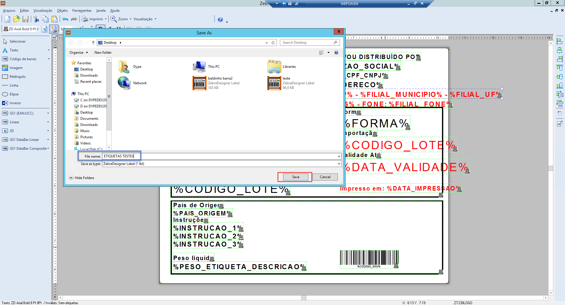 Salvando arquivo LBL